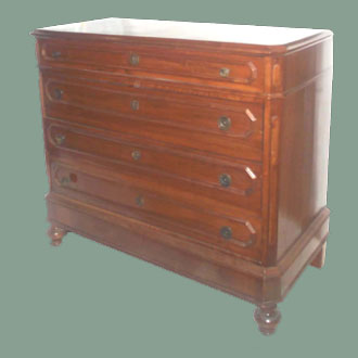 ANTIQUE FOUR DRAWER LOMBARDY CHEST WITH KEY