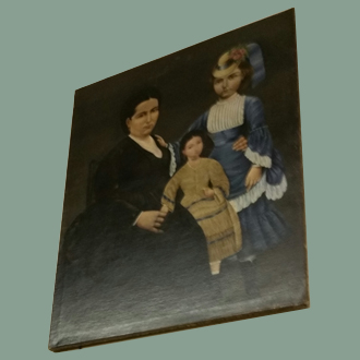 ANTIQUE OIL PAINTING OF MOTHER  & DAUGHTERS