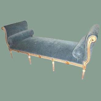 HAND-CARVED LOUIS XVI DIVAN; BLUE BELGIAN LINEN VELVET WITH TWO BOLSTERS; HANDPAINTED WHITE WITH GOLD TRIM & 8-WAY HANDTIED CONSTRUCTION